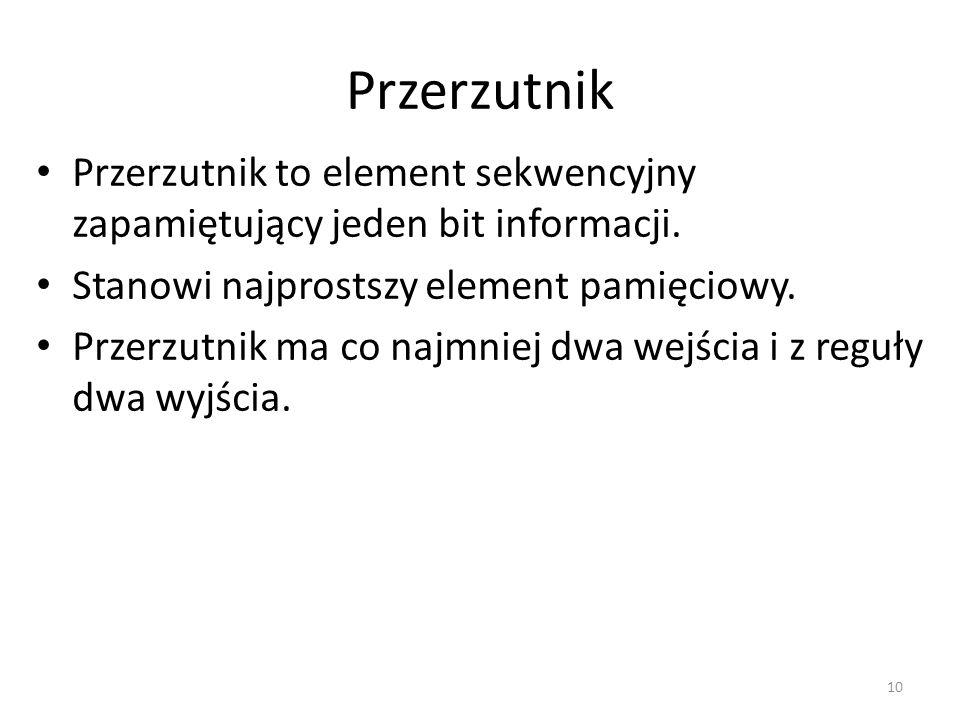 Przerzutnik Przerzutnik to element sekwencyjny zapamiętujący jeden bit informacji. Stanowi najprostszy element pamięciowy.