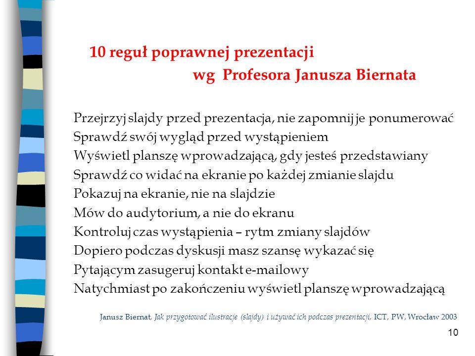 10 reguł poprawnej prezentacji wg Profesora Janusza Biernata