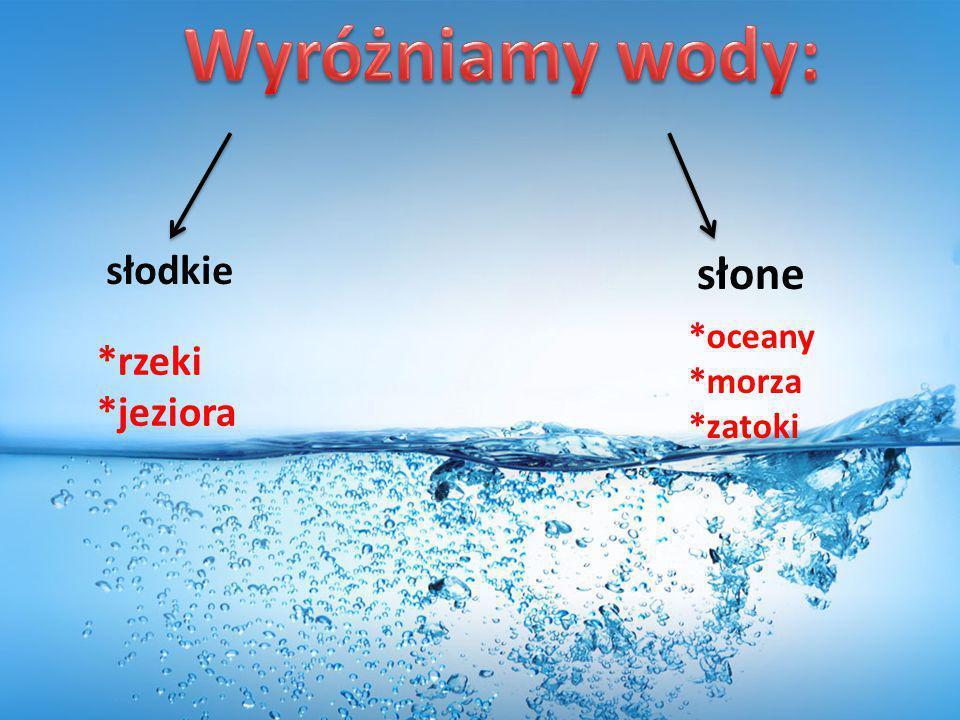Wyróżniamy wody: słodkie słone *oceany *morza *zatoki *rzeki *jeziora