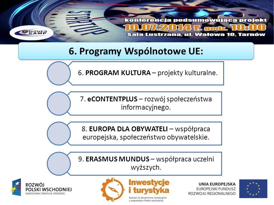 6. Programy Wspólnotowe UE: