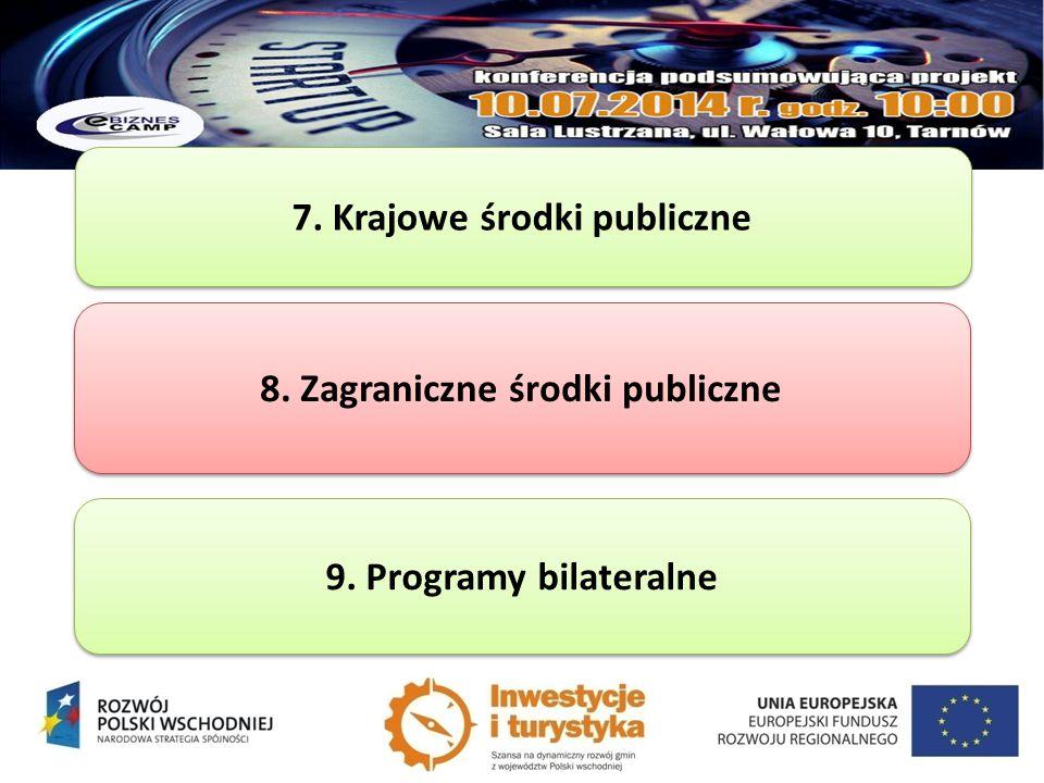 7. Krajowe środki publiczne 8. Zagraniczne środki publiczne