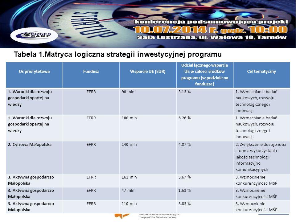 Tabela 1.Matryca logiczna strategii inwestycyjnej programu