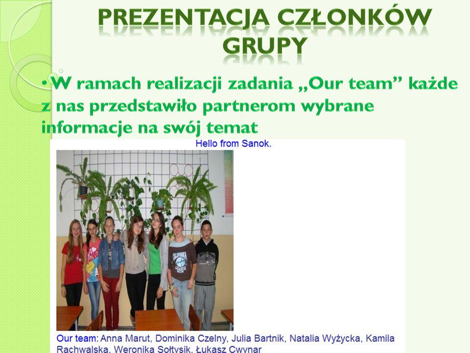 Prezentacja członków grupy