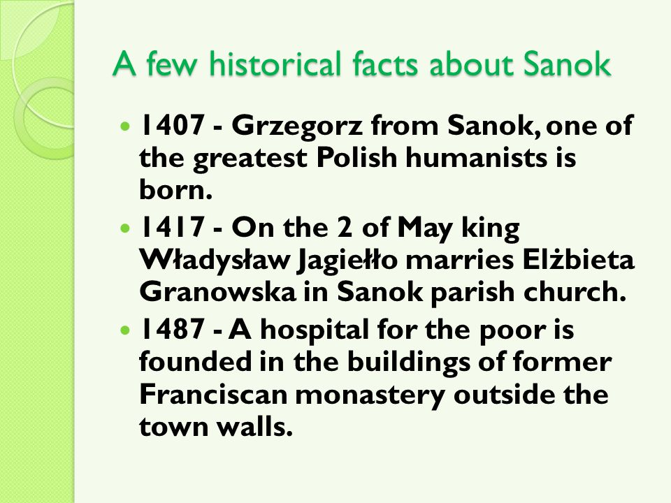 A few historical facts about Sanok