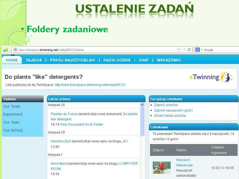 Ustalenie zadań Foldery zadaniowe