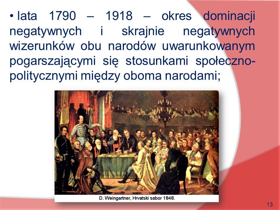 lata 1790 – 1918 – okres dominacji negatywnych i skrajnie negatywnych wizerunków obu narodów uwarunkowanym pogarszającymi się stosunkami społeczno-politycznymi między oboma narodami;