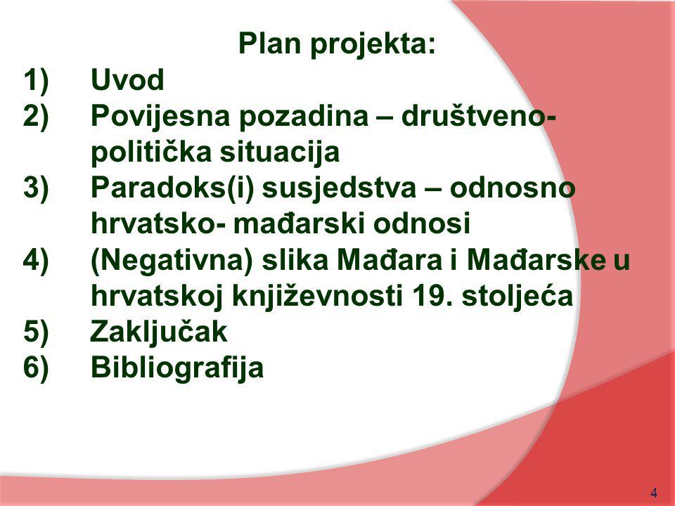 Plan projekta: Uvod. Povijesna pozadina – društveno-politička situacija. Paradoks(i) susjedstva – odnosno hrvatsko- mađarski odnosi.