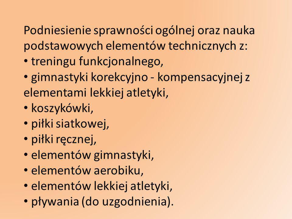 Podniesienie sprawności ogólnej oraz nauka podstawowych elementów technicznych z: