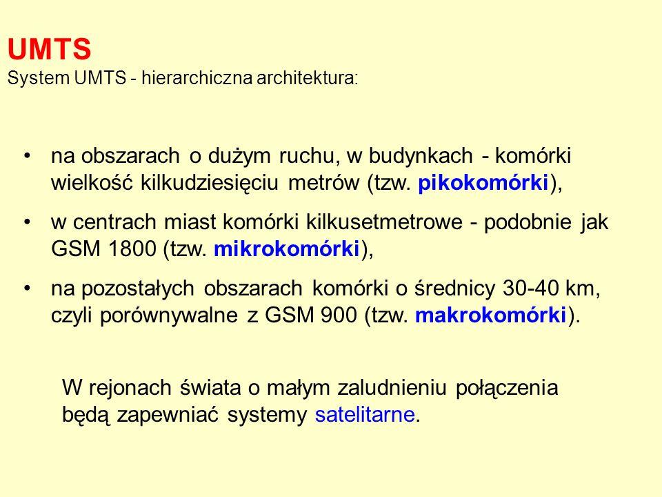 UMTS System UMTS - hierarchiczna architektura: na obszarach o dużym ruchu, w budynkach - komórki wielkość kilkudziesięciu metrów (tzw. pikokomórki),