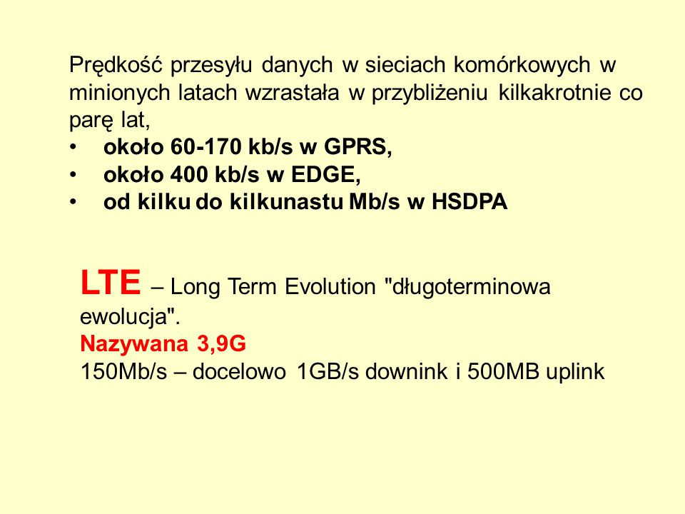 LTE – Long Term Evolution długoterminowa ewolucja .