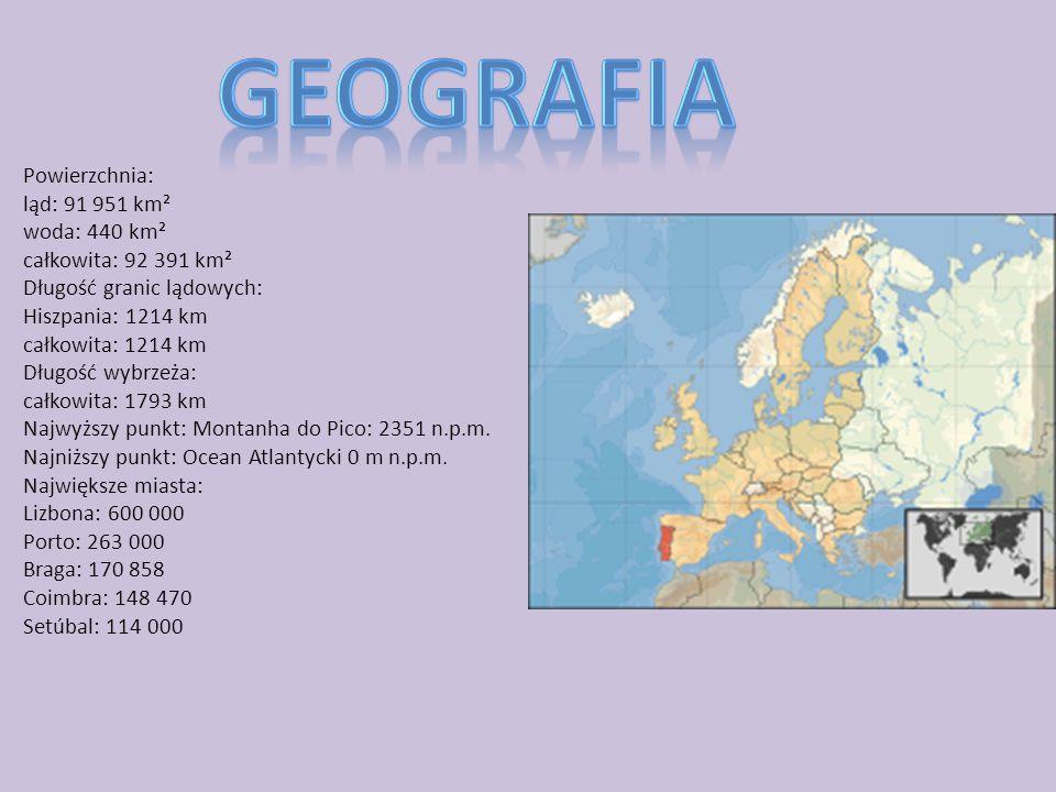 Geografia Powierzchnia: ląd: 91 951 km² woda: 440 km²