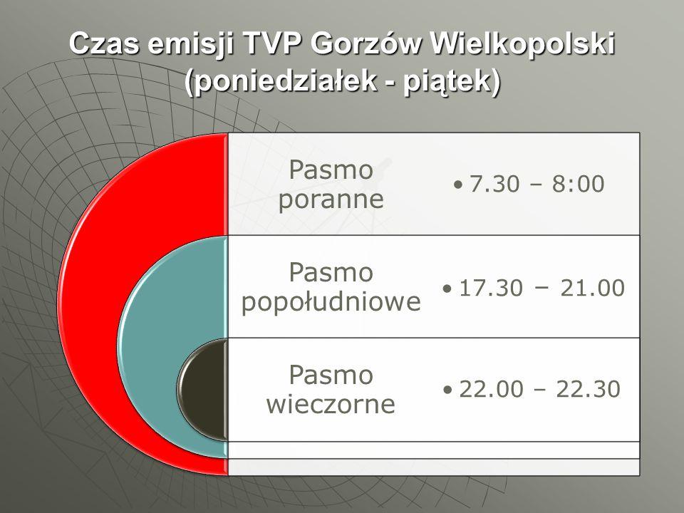 Czas emisji TVP Gorzów Wielkopolski (poniedziałek - piątek)