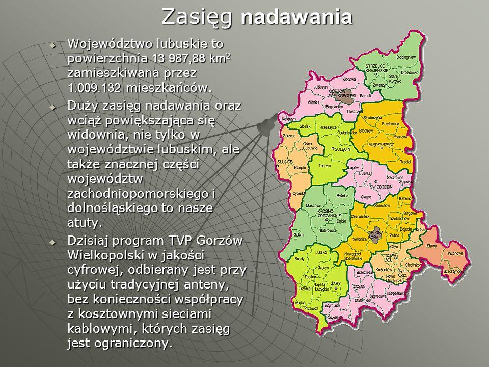 Zasięg nadawania Województwo lubuskie to powierzchnia 13 987,88 km2 zamieszkiwana przez 1.009.132 mieszkańców.