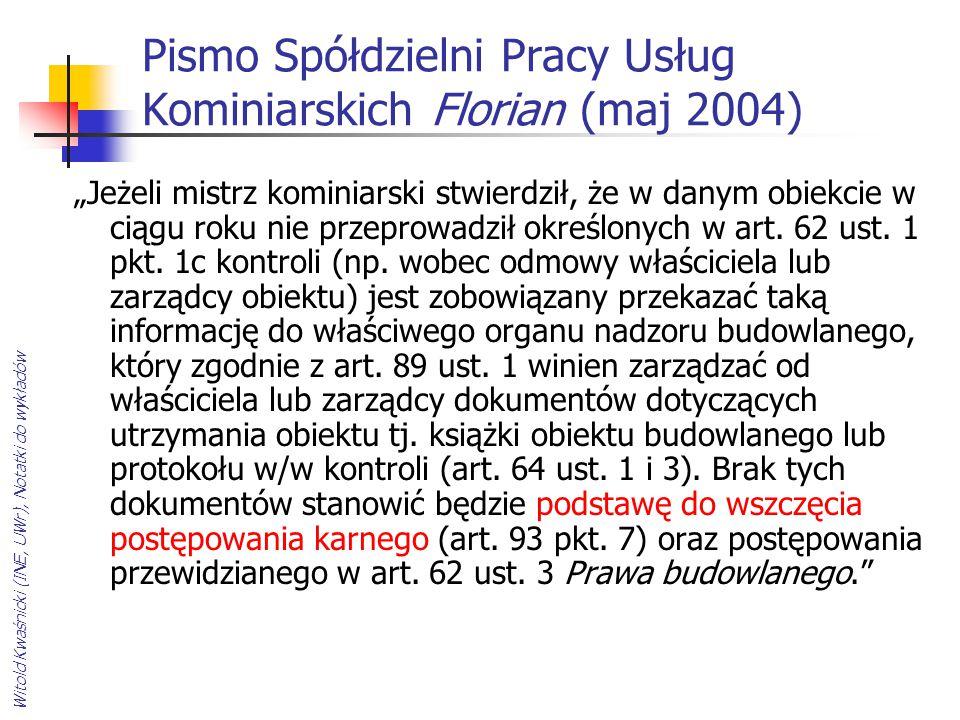 Pismo Spółdzielni Pracy Usług Kominiarskich Florian (maj 2004)