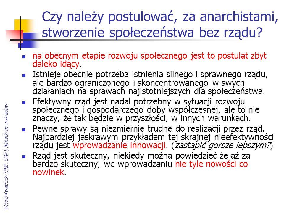 Czy należy postulować, za anarchistami, stworzenie społeczeństwa bez rządu