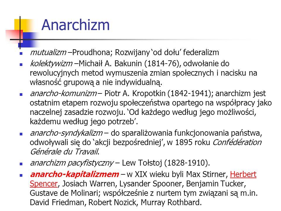 Anarchizm mutualizm –Proudhona; Rozwijany 'od dołu' federalizm
