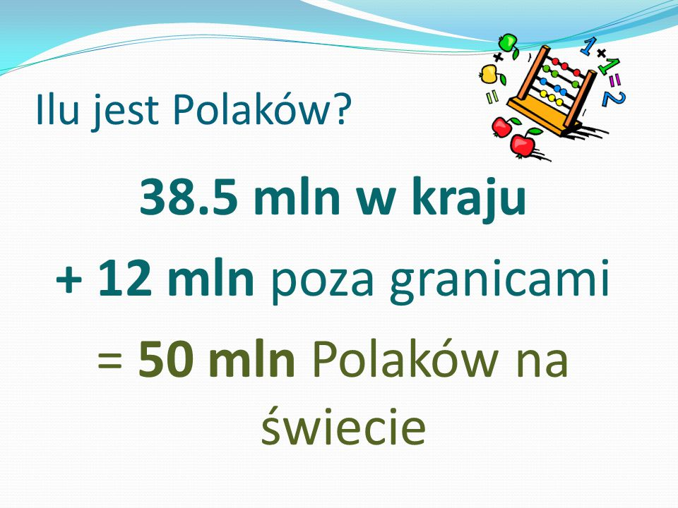 38.5 mln w kraju + 12 mln poza granicami = 50 mln Polaków na świecie