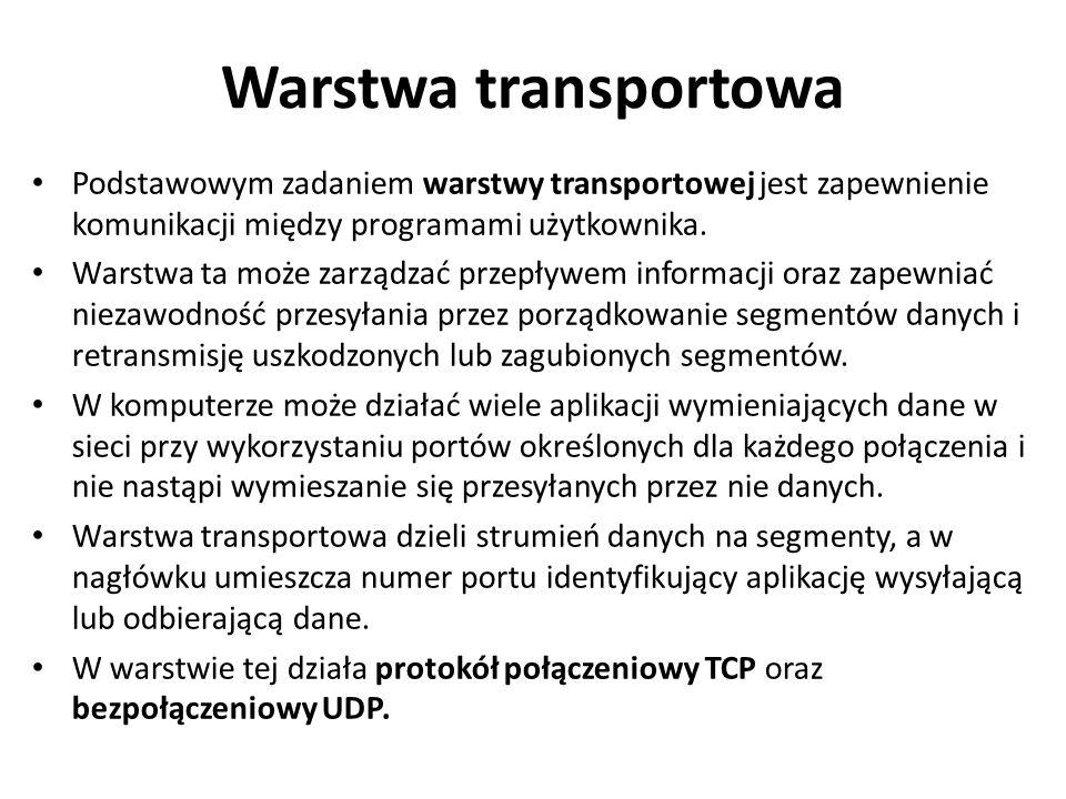 Warstwa transportowa Podstawowym zadaniem warstwy transportowej jest zapewnienie komunikacji między programami użytkownika.