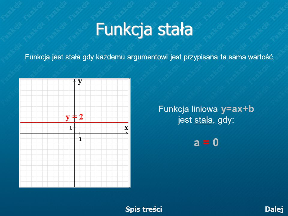 Funkcja liniowa y=ax+b jest stała, gdy: a = 0