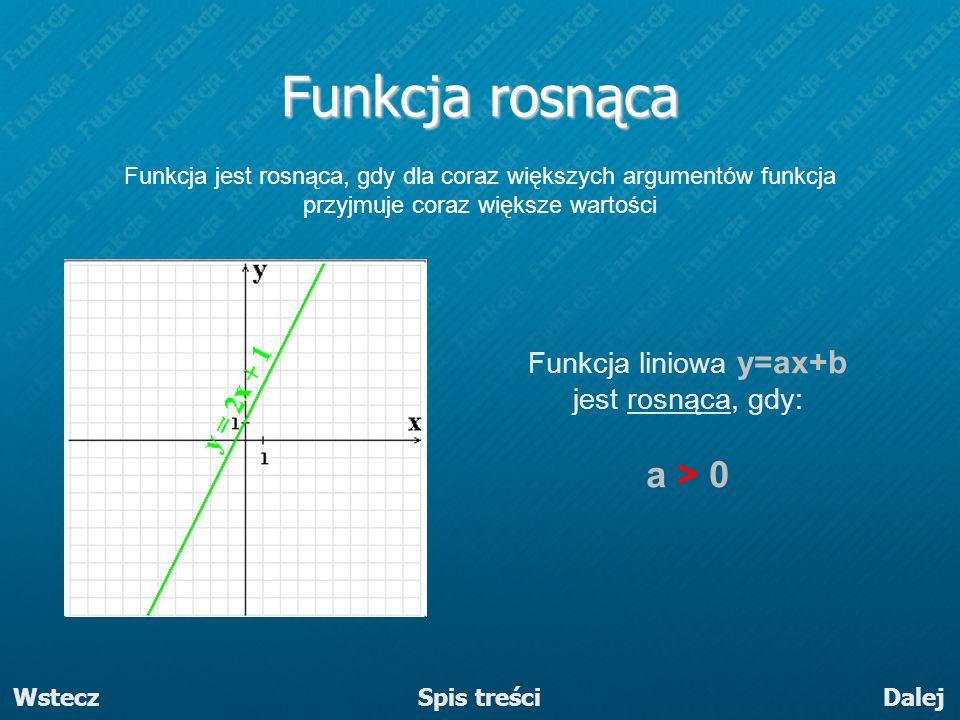 Funkcja liniowa y=ax+b jest rosnąca, gdy: a > 0