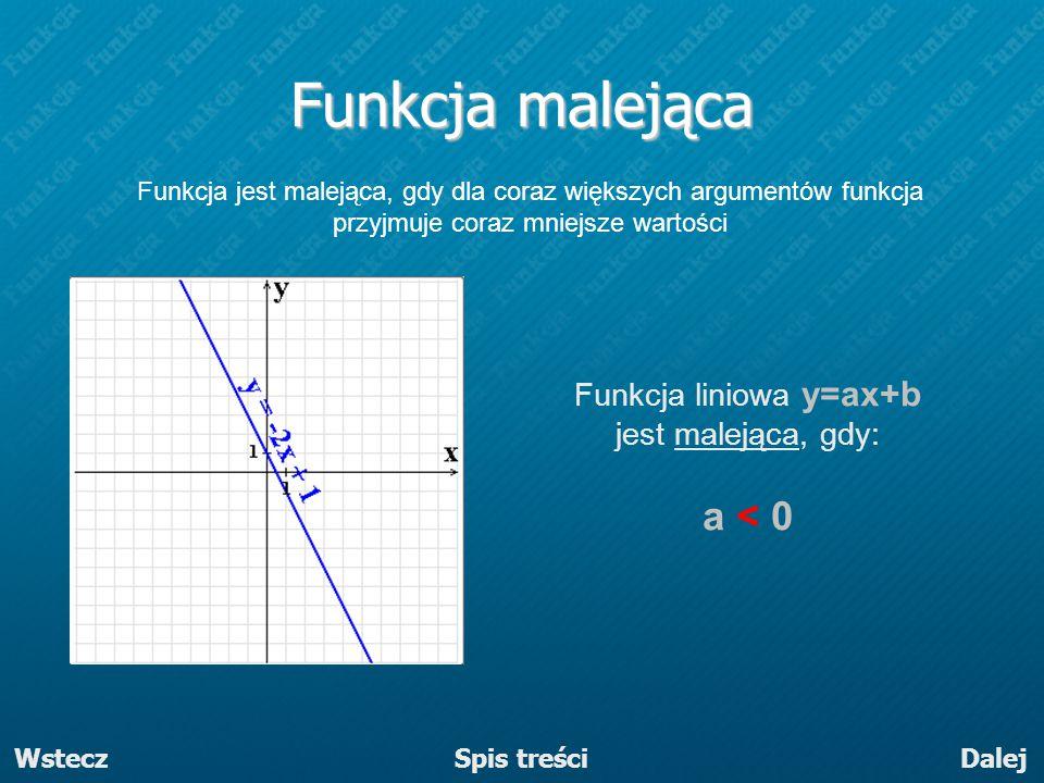 Funkcja liniowa y=ax+b jest malejąca, gdy: a < 0