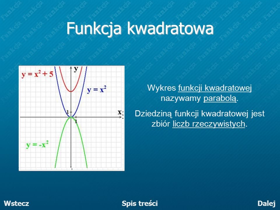 Funkcja kwadratowa Wykres funkcji kwadratowej nazywamy parabolą.