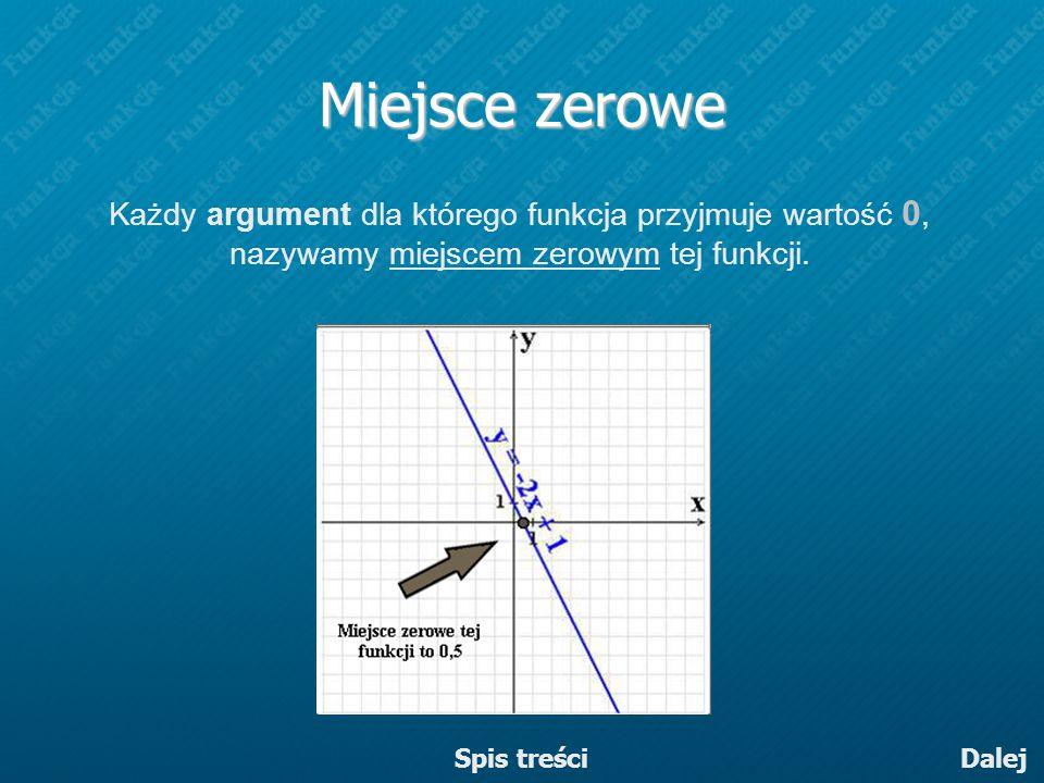 Miejsce zerowe Każdy argument dla którego funkcja przyjmuje wartość 0, nazywamy miejscem zerowym tej funkcji.
