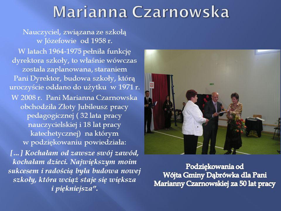Wójta Gminy Dąbrówka dla Pani Marianny Czarnowskiej za 50 lat pracy