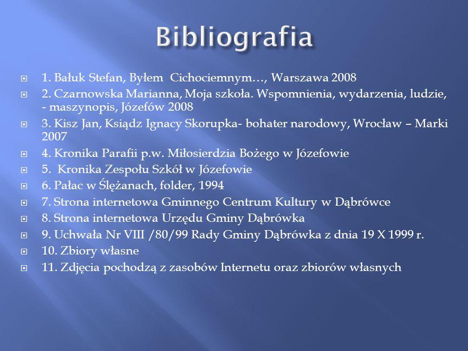 Bibliografia 1. Bałuk Stefan, Byłem Cichociemnym…, Warszawa 2008