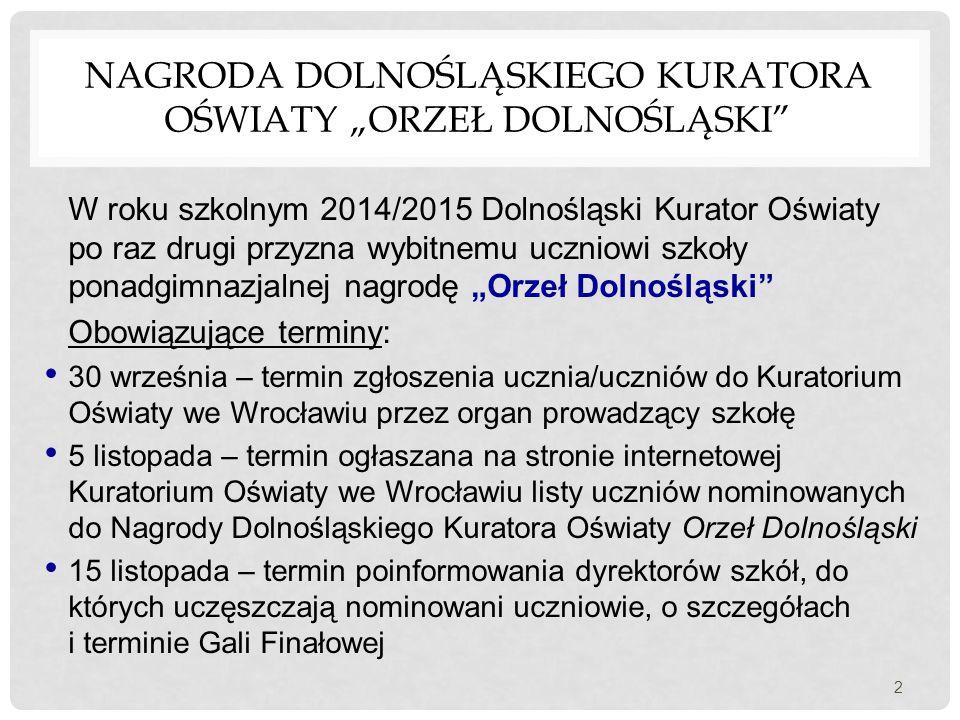 """Nagroda Dolnośląskiego Kuratora Oświaty """"Orzeł Dolnośląski"""
