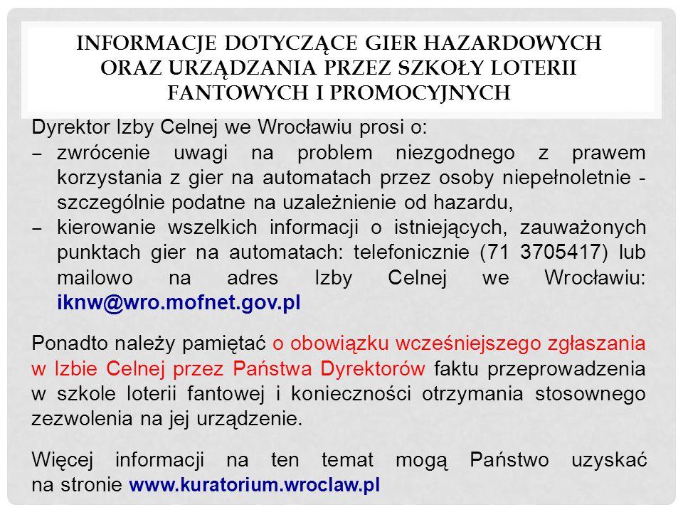 Informacje dotyczące gier hazardowych oraz urządzania przez szkoły loterii fantowych i promocyjnych