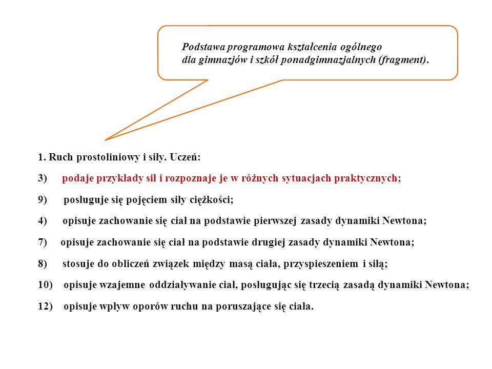 Podstawa programowa kształcenia ogólnego dla gimnazjów i szkół ponadgimnazjalnych (fragment).