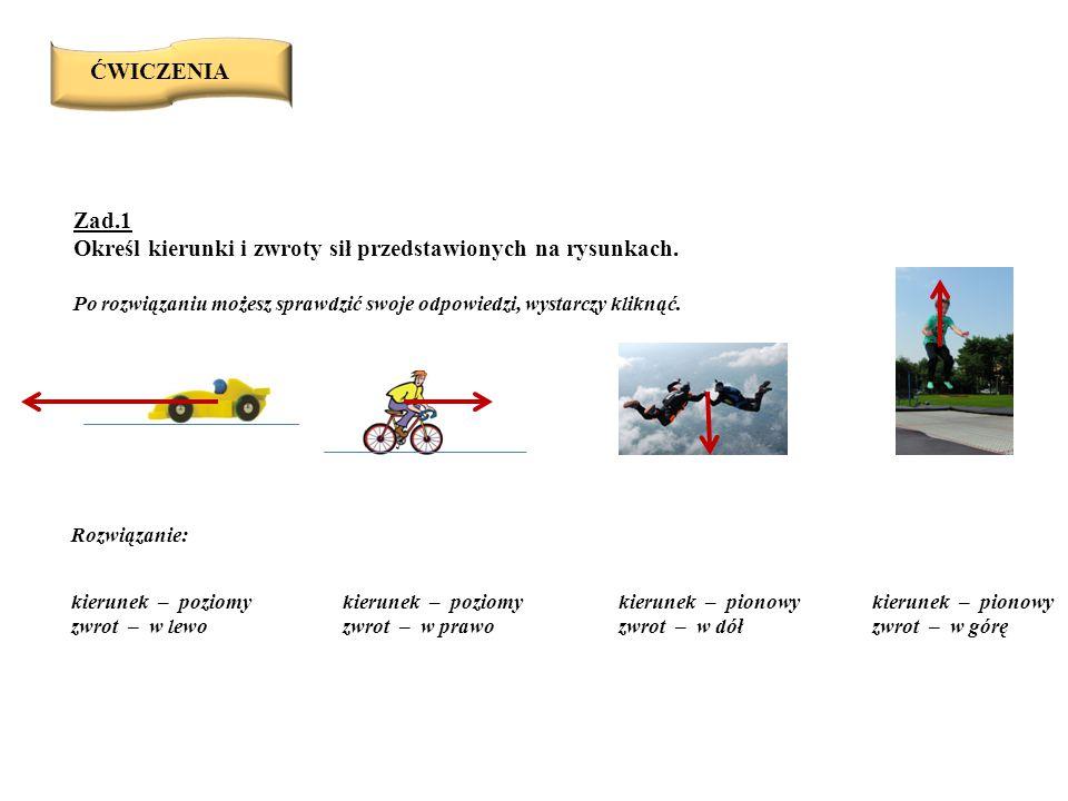 Zad.1 Określ kierunki i zwroty sił przedstawionych na rysunkach.
