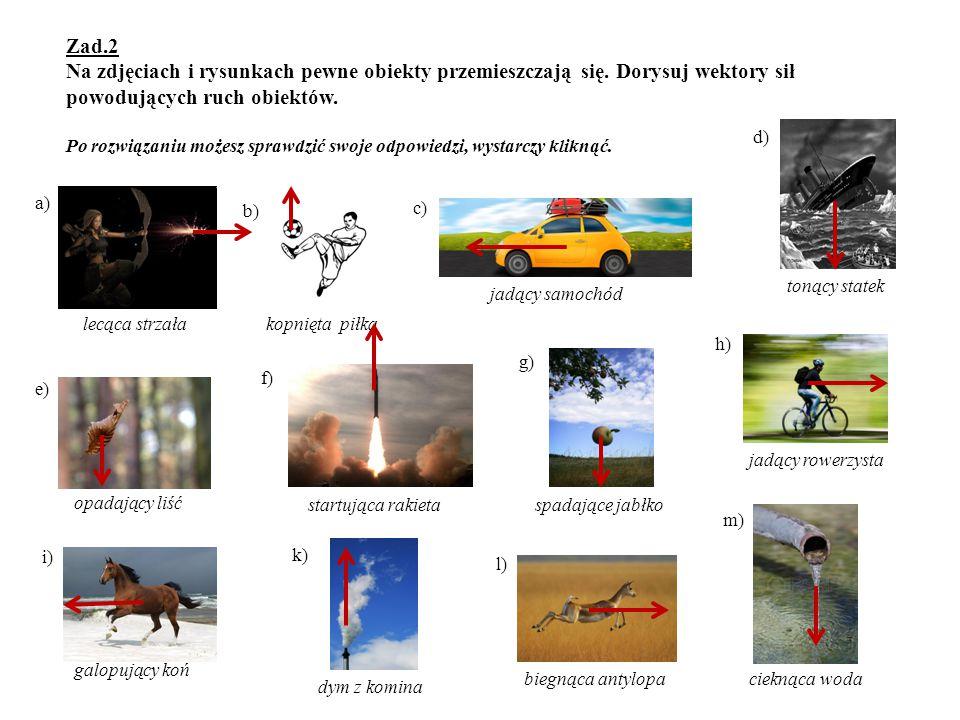 Zad. 2 Na zdjęciach i rysunkach pewne obiekty przemieszczają się
