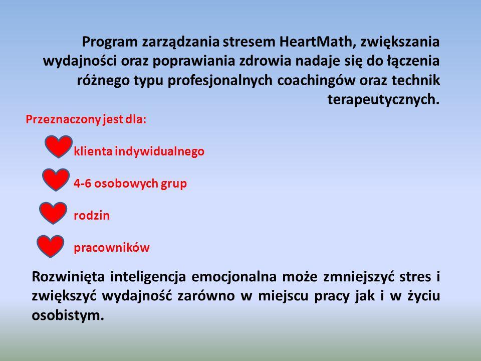 Program zarządzania stresem HeartMath, zwiększania wydajności oraz poprawiania zdrowia nadaje się do łączenia różnego typu profesjonalnych coachingów oraz technik terapeutycznych.