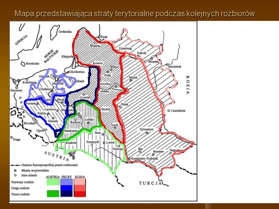 Mapa przedstawiająca straty terytorialne podczas kolejnych rozbiorów