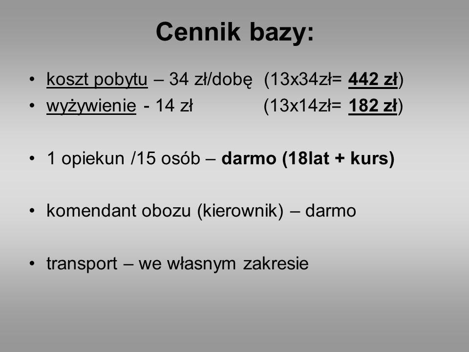 Cennik bazy: koszt pobytu – 34 zł/dobę (13x34zł= 442 zł)