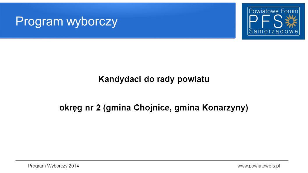 Kandydaci do rady powiatu okręg nr 2 (gmina Chojnice, gmina Konarzyny)
