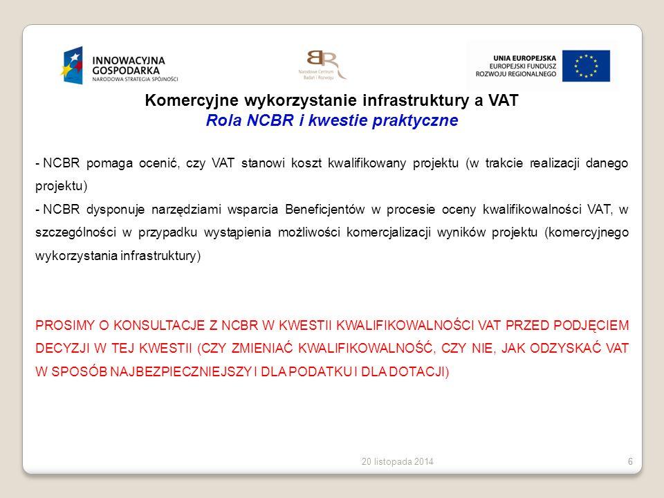 Komercyjne wykorzystanie infrastruktury a VAT Rola NCBR i kwestie praktyczne