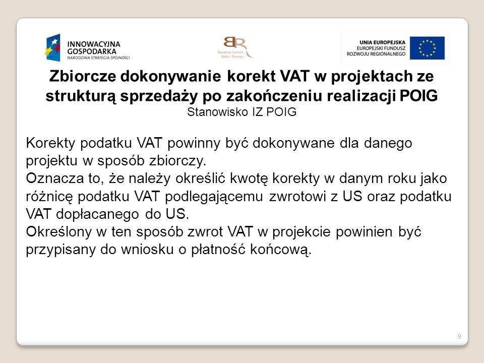 Zbiorcze dokonywanie korekt VAT w projektach ze strukturą sprzedaży po zakończeniu realizacji POIG