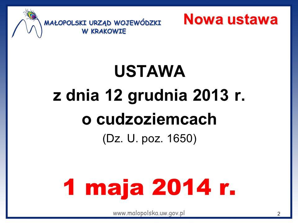 1 maja 2014 r. USTAWA z dnia 12 grudnia 2013 r. o cudzoziemcach