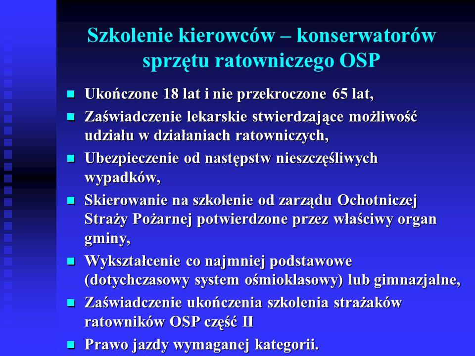 Szkolenie kierowców – konserwatorów sprzętu ratowniczego OSP