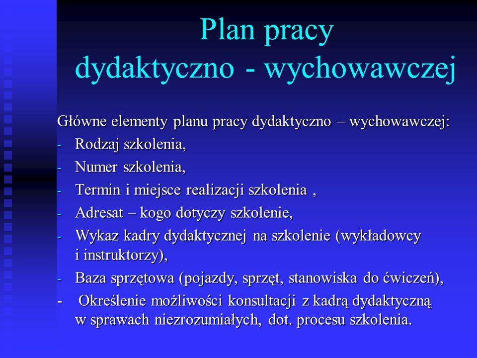 Plan pracy dydaktyczno - wychowawczej