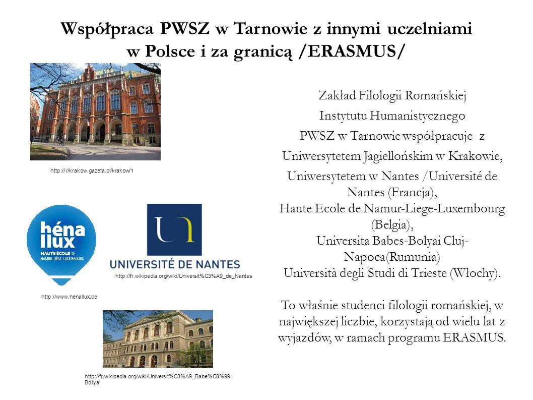 Współpraca PWSZ w Tarnowie z innymi uczelniami w Polsce i za granicą /ERASMUS/
