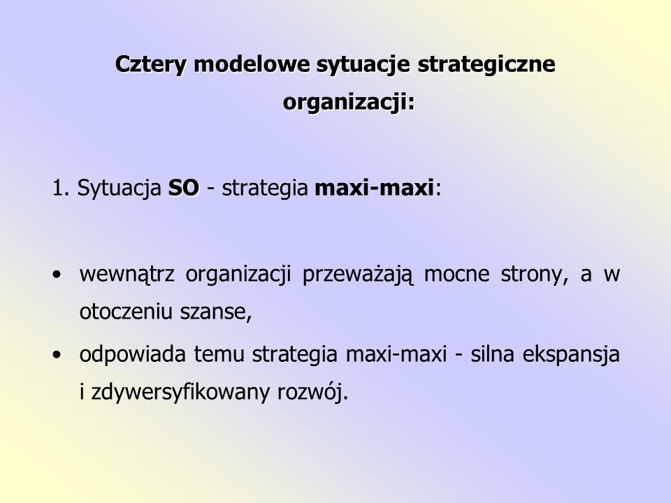 Cztery modelowe sytuacje strategiczne organizacji: