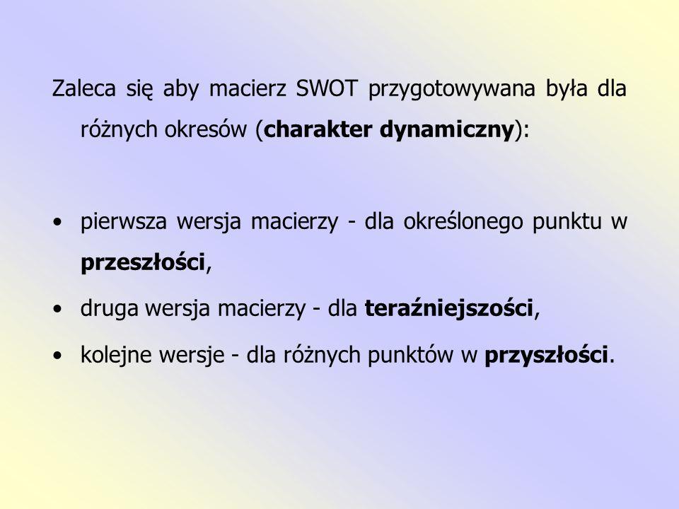 Zaleca się aby macierz SWOT przygotowywana była dla różnych okresów (charakter dynamiczny):