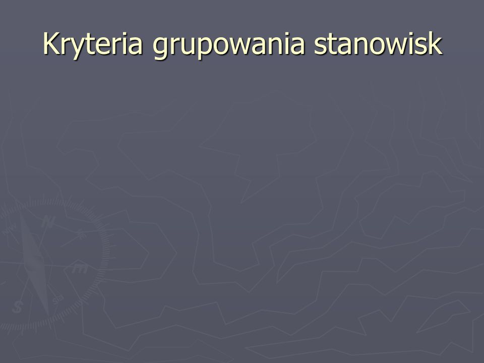 Kryteria grupowania stanowisk