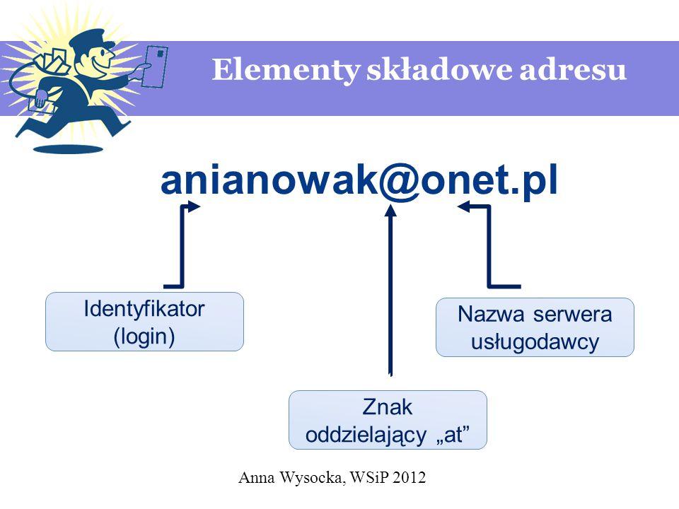 anianowak@onet.pl Elementy składowe adresu Identyfikator (login)
