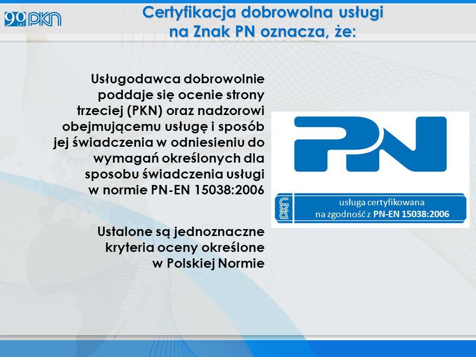 Certyfikacja dobrowolna usługi na Znak PN oznacza, że: