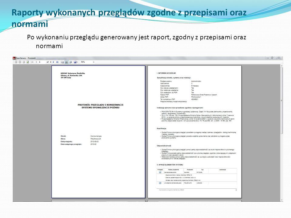 Raporty wykonanych przeglądów zgodne z przepisami oraz normami